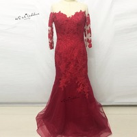 Vestido De Festa Longo Formal Dark Red Mermaid Evening Dresses Long 3 4 Sleeve Lace Prom