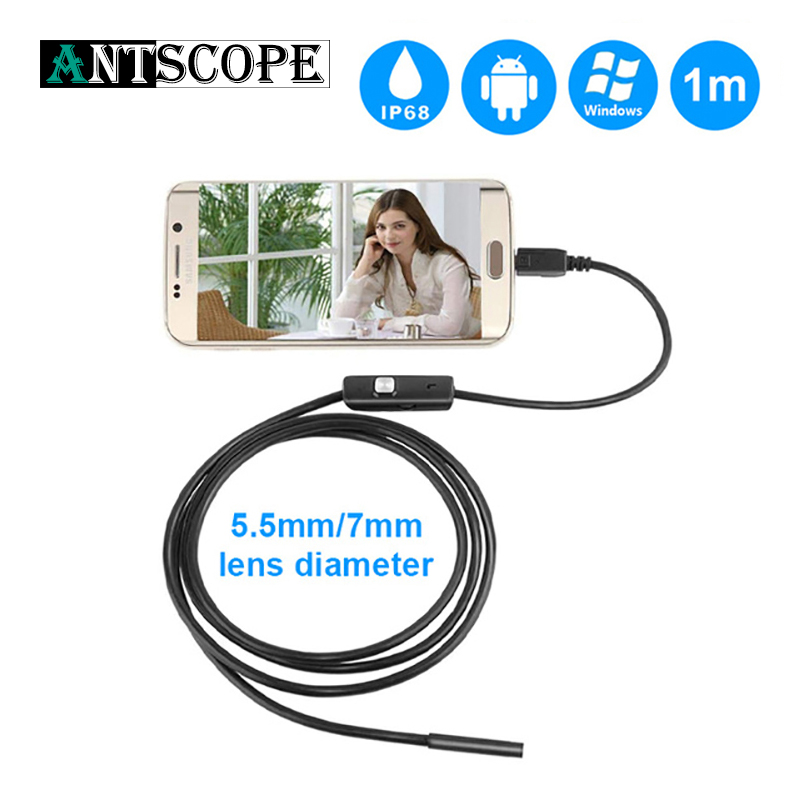 Video Surveillance Antscope 5.5mm/7mm Endoscope Android 6 Led Usb Endoscope Camera Waterproof Borescope Camera 2in1 Soft Cable Inspection Camera 5