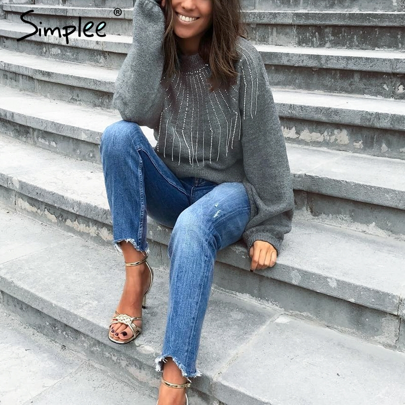 Simplee Crystal Beading Sweater S18ST0591