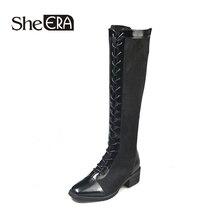 hot deal buy new fashion women boots women knee-high boots square toe boots black zip long boots classic women shoes she era
