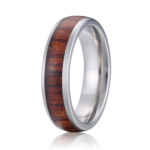 high quality handmade custom pure titanium wood wedding band promise finger ring fashion jewelry for men and women anel custom size hammered pattern pure titanium steel jewelry engagement ring wedding band for men