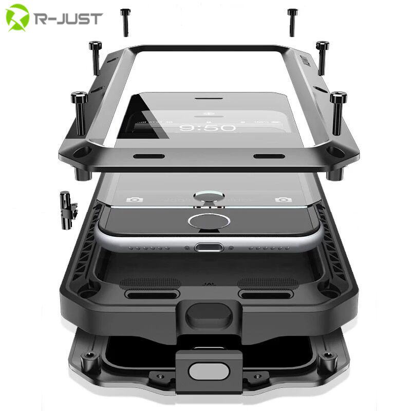 Shockproof Coque Aluminum Metal bumper Frame+Glass Cover On For iphone 4 4s 5s 5 s SE 6s 6 s plus 6plus 6splus 7 7plus Case