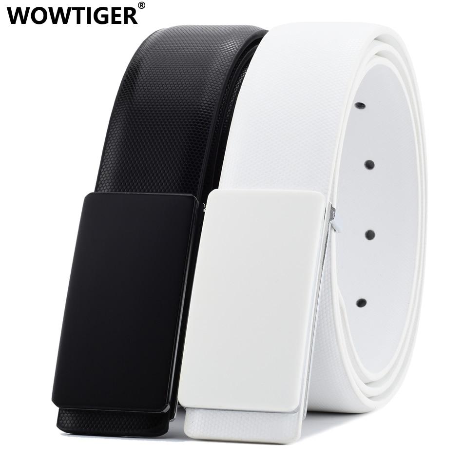 WOWTIGER-cinturones anchos de piel de vaca para hombre, correa de cuero genuino en blanco y negro, 33mm, hebilla lisa, cinturón de diseñador de marca de lujo