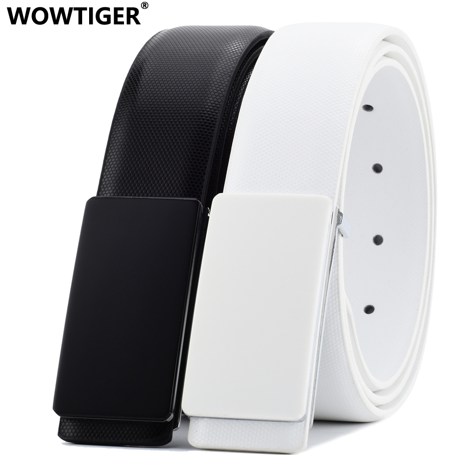 WOWTIGER White Black Cowhide Genuine Leather 33mm width   belts   for men Strap male Smooth buckle Luxury Brand Designer   belt