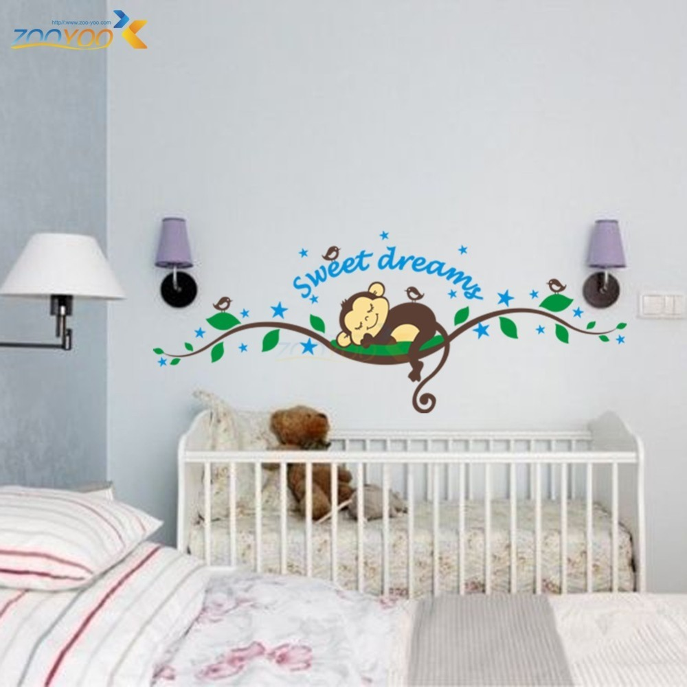 Aliexpress.com : Buy Sweet Dreaming Sleeping Monkey On The Trees Wall  Stickers For Kids Room PVC Mural Art Decals Nursery Bedroom Animals  Decorations From ...