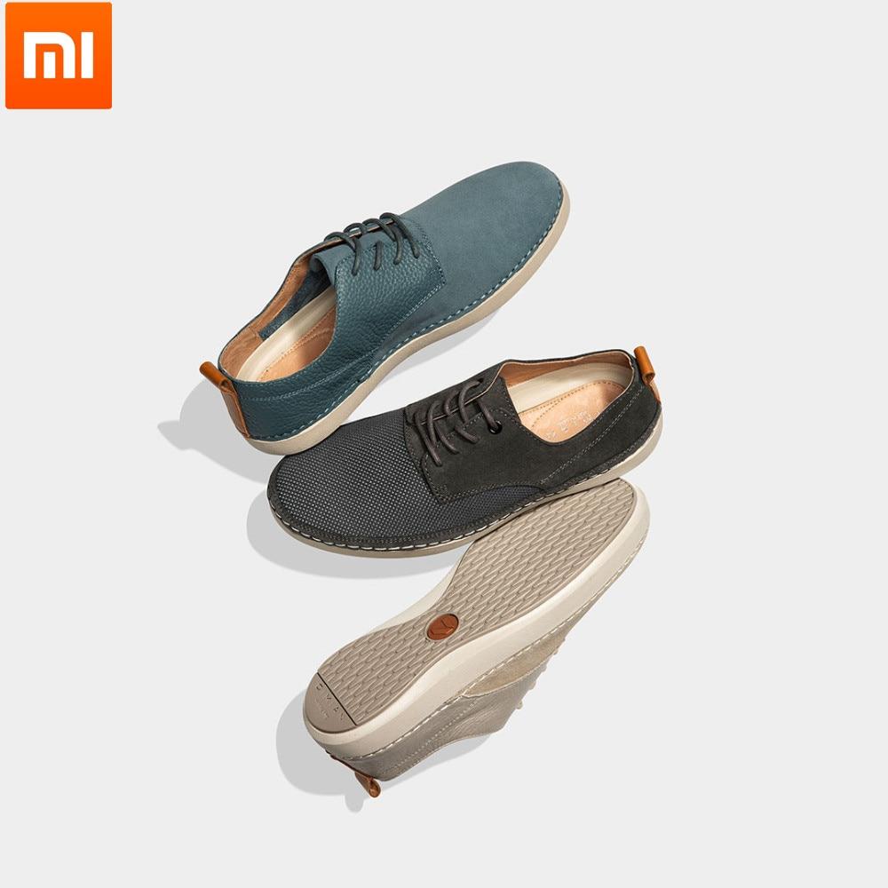 Xiaomi youpin qimian mode hommes en cuir léger simple chaussures décontractées doux confortable et respirant semelle en caoutchouc