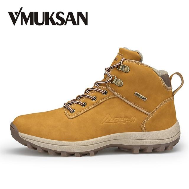 VMUKSAN ブランド男性ブーツビッグサイズ 39-47 男性の冬のブーツレースアップ雪のブーツメンズファッションスニーカー作業靴男