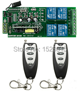 85v~250V 4CH 10A RF Wireless Remote Control System / Radio Switch remote switch 220v Learning code receiver +2 remote controller 85 220v 4ch rf wireless remote control system radio switch remote switch 220v learning code receiver 2 remote controller