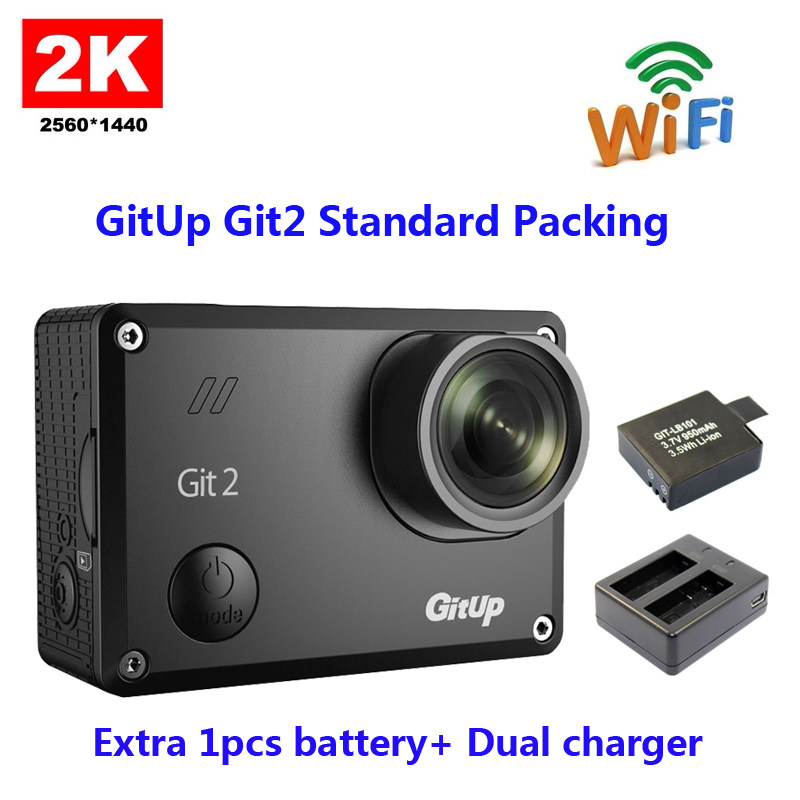 Original GitUp Git2 Standard Packing 2k Wifi Sports Camera  Full HD For Sony IMX206 16MP Sensor+Extra 1pcs battery+ Dual charger кабель телефонный vivanco 45115