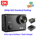 Original GitUp Git2 Standard Packing 2k Wifi Sports Camera  Full HD For Sony IMX206 16MP Sensor+Extra 1pcs battery+ Dual charger