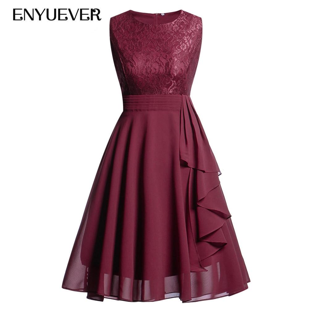 Enyuever Women Lace Dress Spring Summer 2019 Runway Korean Ruffle Sleeveless Elegant Chiffon Formal Evening Party Dress Vestidos