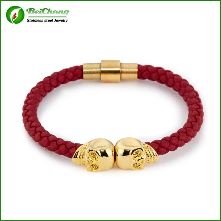 Free shipping Braided Genuine Leather Bracelet North Skull Bracelets Design BC-0007