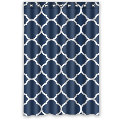 Personalized Classic Navy Blue Quatrefoil Bathroom Waterproof Polyester Fabric Shower Curtain 48 X 72