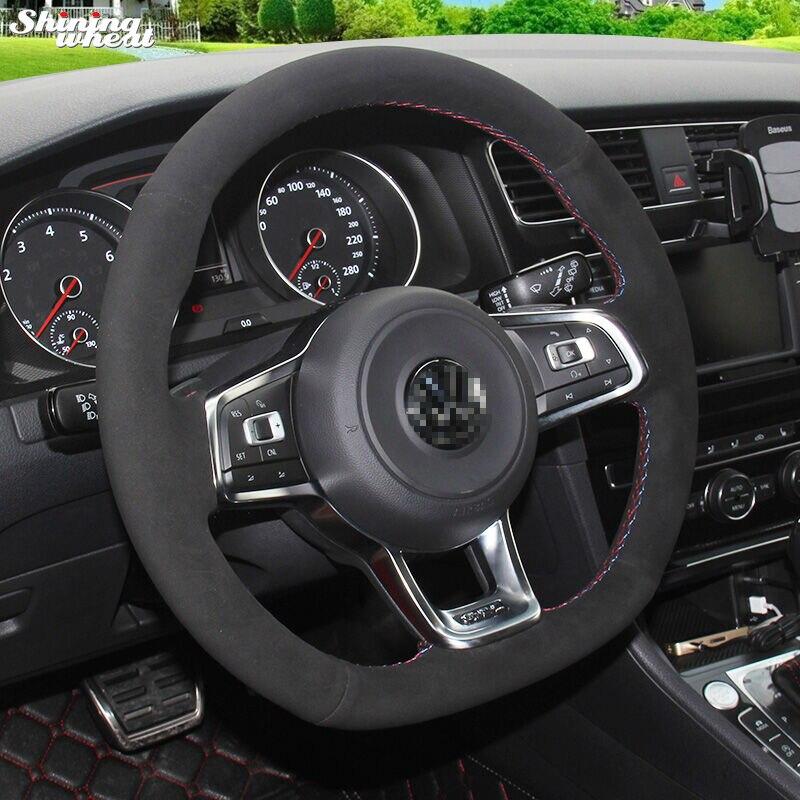 Блестящие пшеницы черная замша руль Обложка для Volkswagen Гольф 7 GTI Гольф R MK7 VW Мужские поло GTI Scirocco 2015 2016