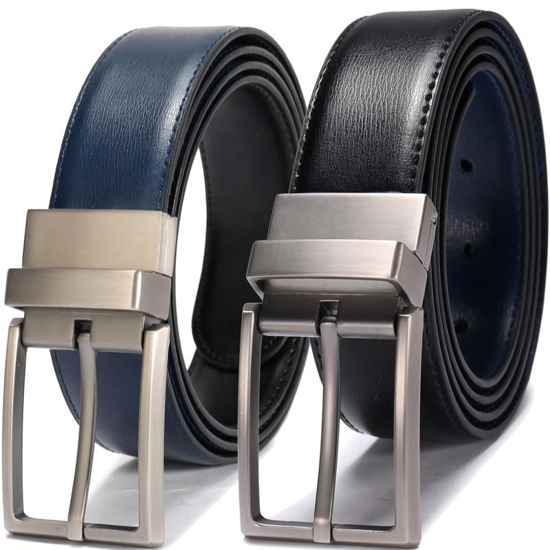 Revolvable Cintos Reversíveis dos homens Para Homens de Negócios Formal Couro Genuíno Cintos de Fivela de Cinto Com Double Side 3.4 CENTÍMETROS Grande e de altura