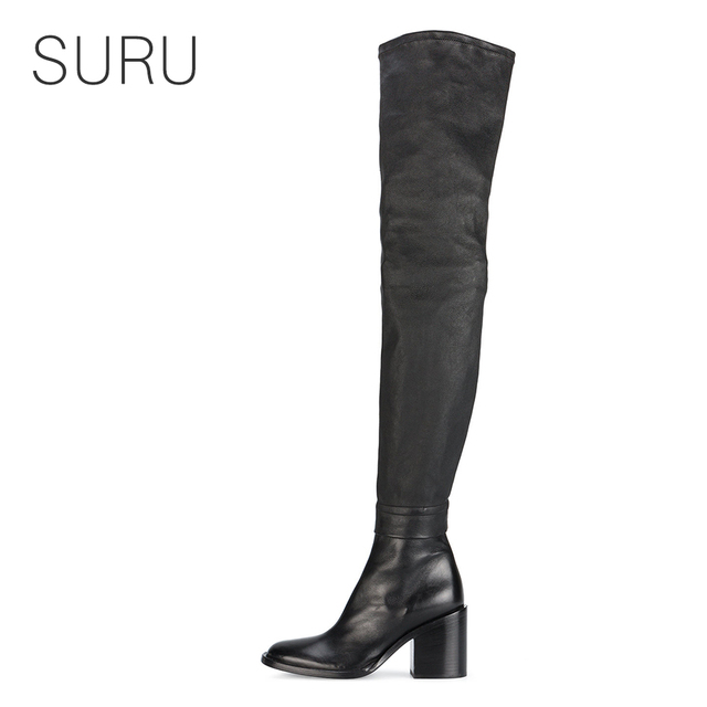 6a602cbb647 SURU Black Cow Leather Motorcycle Thigh Boots Women Over The Knee High Boots  With 3 Inches Chunky Heels Large Size 45 44 43 42
