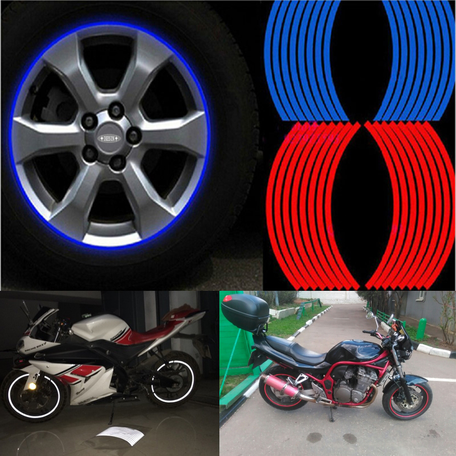 Hot 16 pcs strips wheel stickers and decals 14 17 18 reflective rim tape bike motorcycle