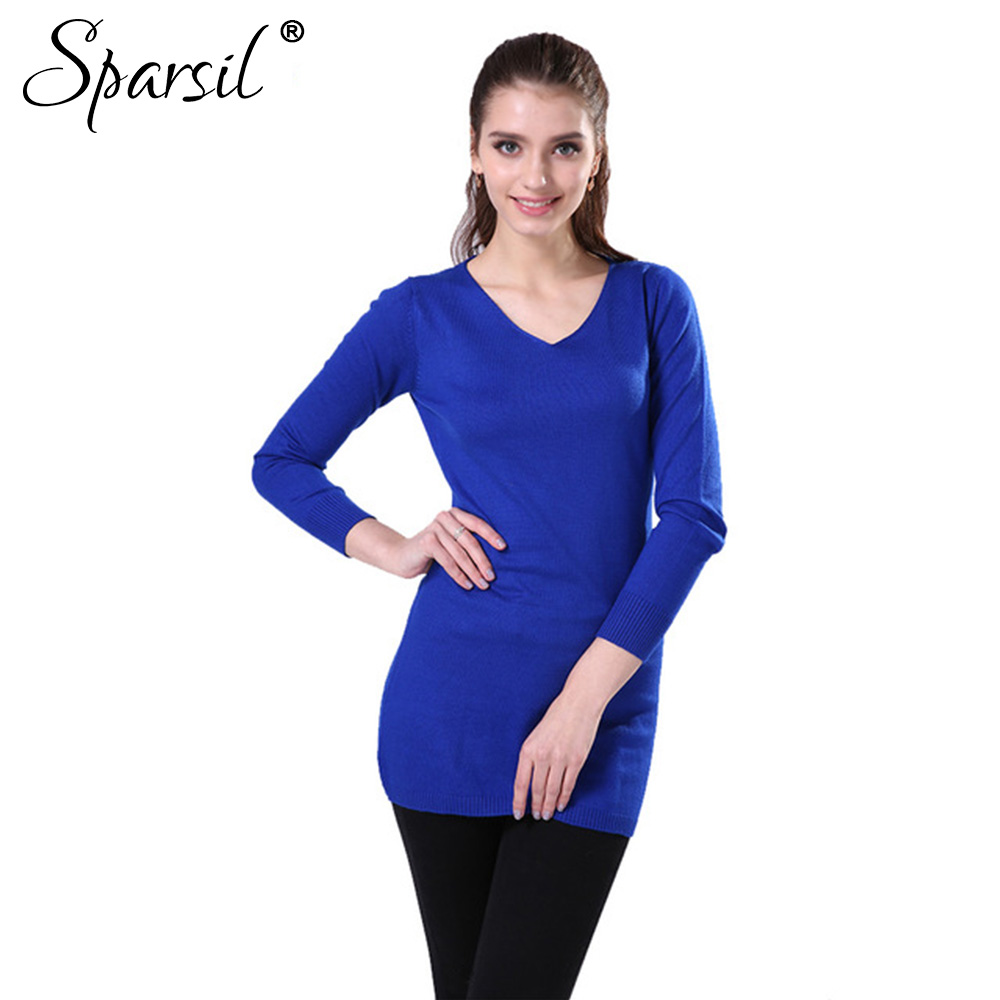 Sparsil Women Winter Solid Colors Cashmere Cashmere Long Pullover Autumn Fashion Female V-Neck Knitwear Christmas Sweater
