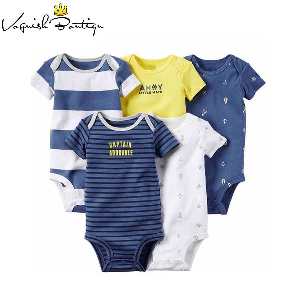 5PCS/LOT Newborn Baby Clothes Unisex Short Sleeve Cotton O-Neck 0-12M Novel Newborn Boys& Girls Roupas de bebe Baby Rompers baby rompers o neck 100