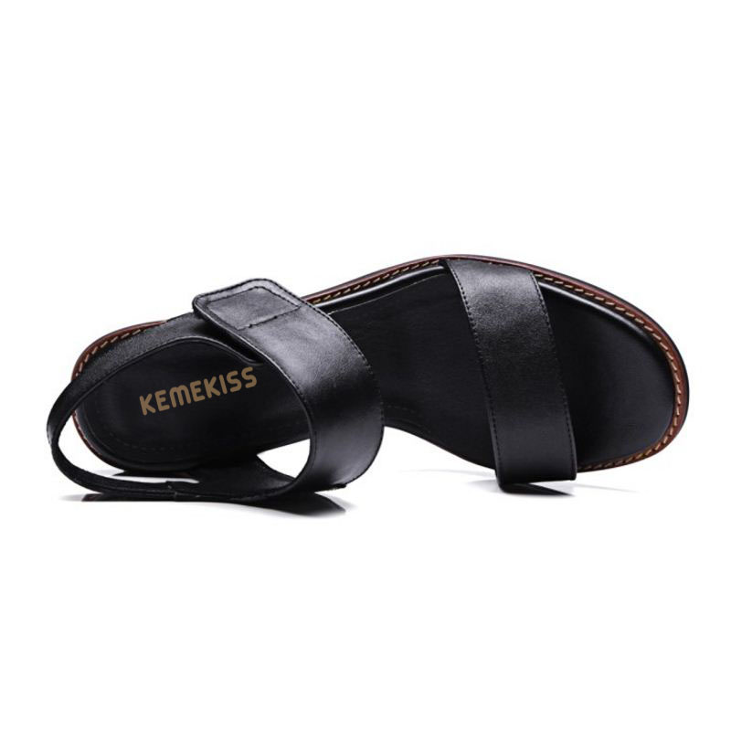 KemeKiss Elegant Women Real Leather High Heels Sandals Summer Open Toe Sandals Office Daily Shoes Woman Footwears Size 33 43 in High Heels from Shoes