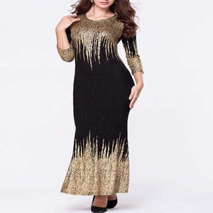 Image 5 - משלוח חינם חדש אפריקאי נשים קיץ שמלת זהב רדיד Slim ארוך שרוול שמלת Bronzing קצף אופנה חמה מכירות