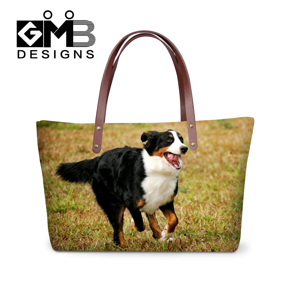 Dispalang girls lovely bernese dog printing tote bags animal designer womens fashion shopping handbags ladies summer beach bag