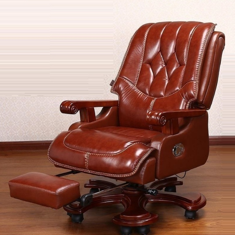 Leather boss high-end computer home office wooden swivel large class chair the boss chair conference reception negotiation of large chair recreational office leather chair