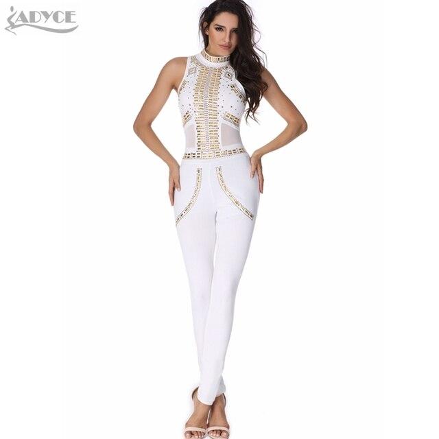 2016 new sexy mulheres rompers bodysuit branco luxo lantejoulas malha patchwork bodycon senhora quente pista catsuit festa à noite macacão