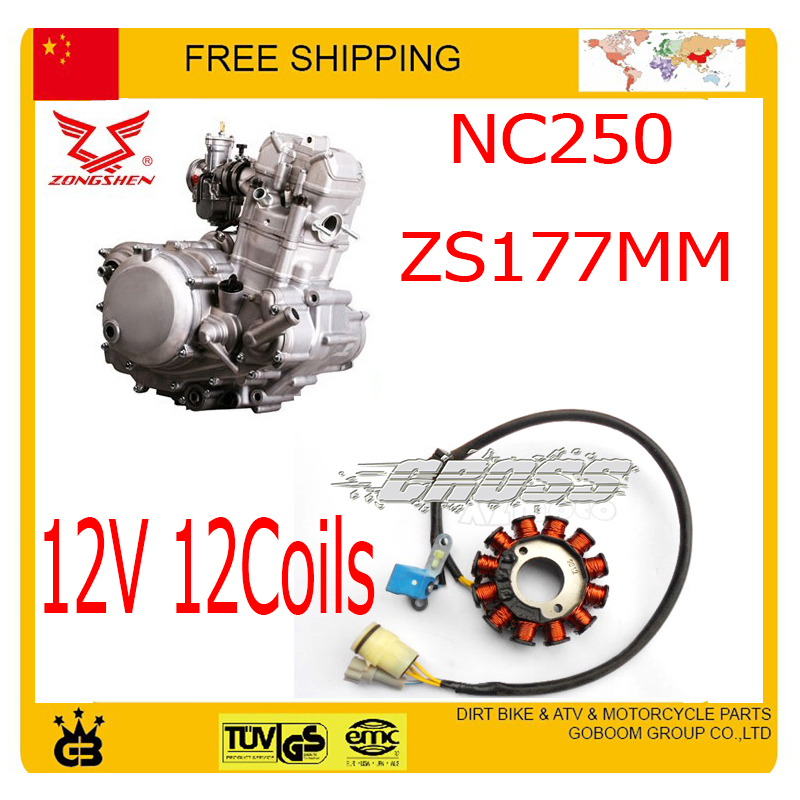 ZONGSHEN NC250 250CC stator  Magneto coil 12V 12coils xmotos kayo bse dirt pit bike accessories free shipping free shipping 65 5mm zongshen t4 mx6 cqr250 cb250 dirt bike motorcycle cylinder kits with piston and 15mm pin for kayo t4