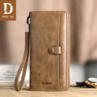 DIDE Genuine Leather Long wallet male Cowhide leather wallet Men's wallet zipper vintage style Large capacity clutch bag DQ713
