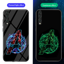 ciciber Phone Cases for Huawei P30 Lite Pro Marvel Avengers Iron Man Luminous Glass Cover P20 Coque Fundas