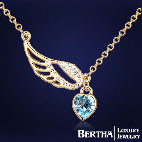 Fashion Luxury Jewelry Austrian Crystal Angel Wings Statement Necklace Bijoux For Women Party Valentine Gift Jewerly