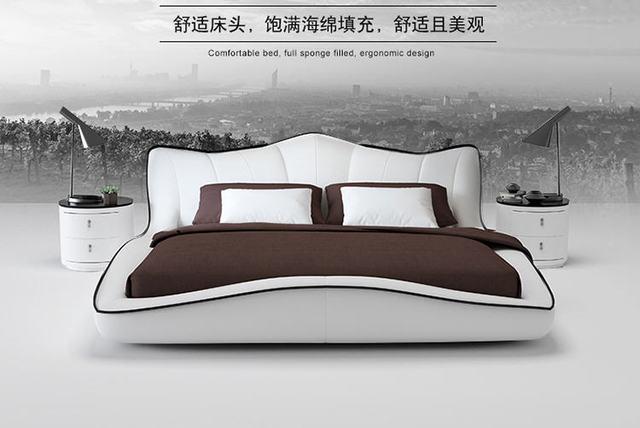 Europe and America Genuine leather bed frame Modern Soft Beds Home Bedroom Furniture cama muebles de dormitorio / camas quarto