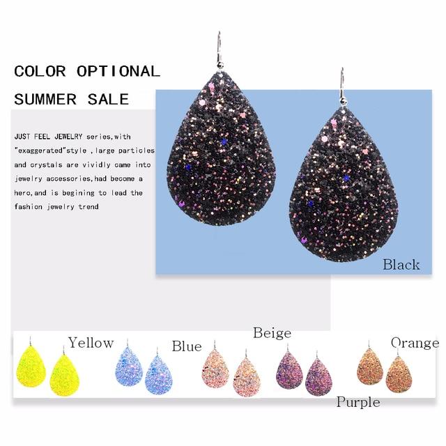 Купить роскошные кожаные капля серьги с блестками различные цвета богемные