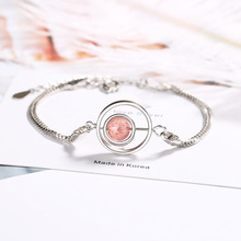 Natural Korean version of the peach flower bracelet female simple personality student Sen pink crystal jewelry