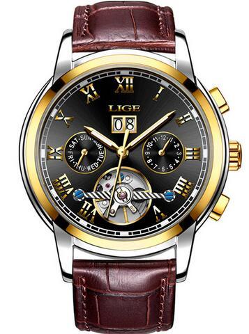 gold black leather