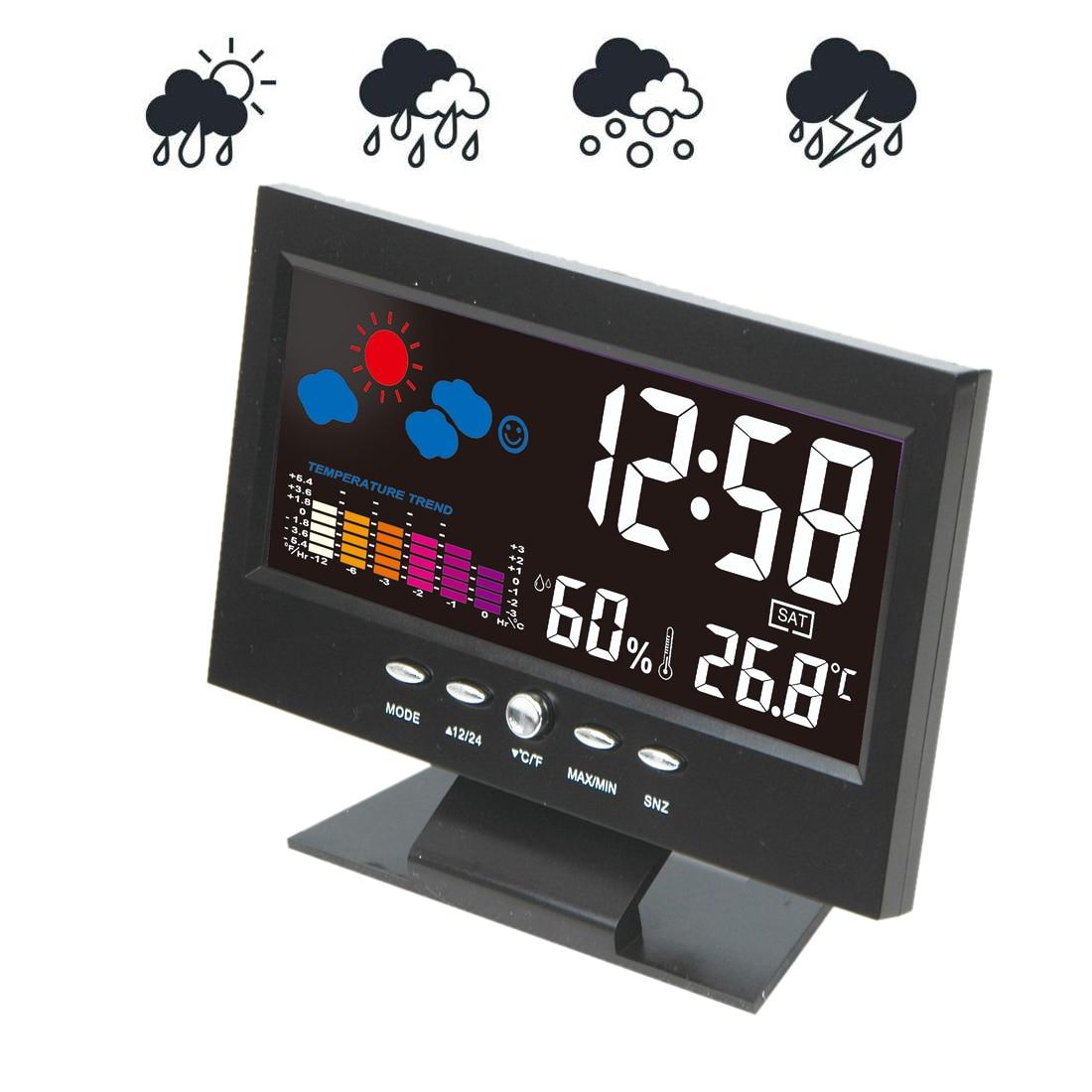 Weather Station Alarm Clock Hygrometer Digital Barometer Colorful Thermometer Calendar Clock Desk LCD Display