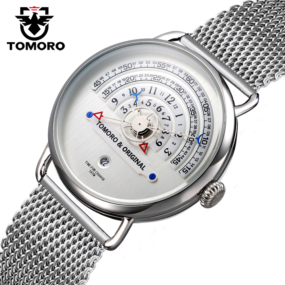 TOMORO Original 2017 New Creative 4 hands Unique Reading Clock Mesh Steel Strap Men Vogue Luxury Casual Male Quartz Puzzle Watch цена 2017