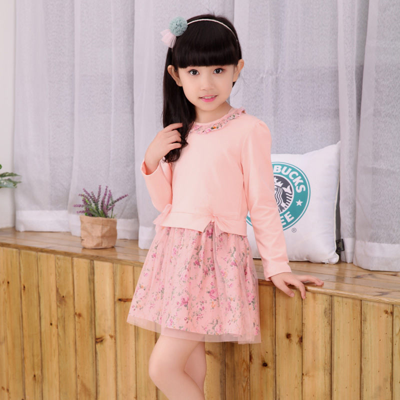 Kids girls spring / autumn dress 2017 new baby girls fashion clothing big virgin long-sleeved floral dress 4/5/6/7/8/9/10/11/12 ноутбук dell vostro 5468 5468 9937 5468 9937