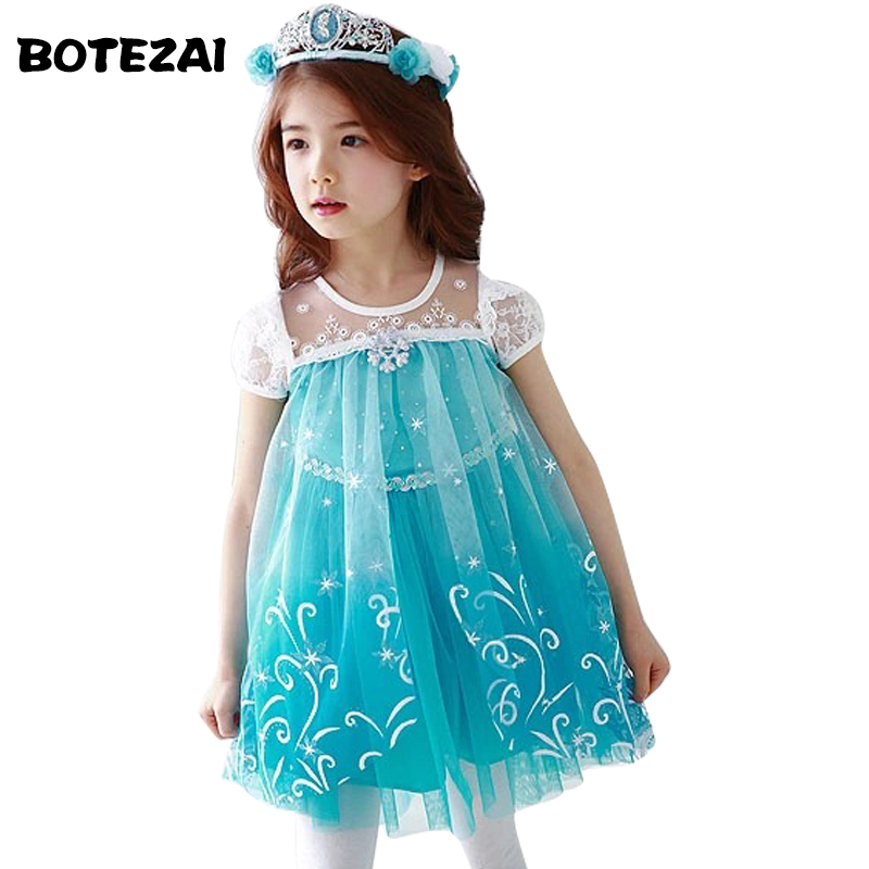 Lace High Quality Girl Dresses Princess Children Clothing Anna Elsa Cosplay Costume Kid's Party Dress Baby Girls Clothes 2017 new girls dresses for party and wedding baby girl princess dress costume vestido children clothing black white 2t 3t 4t 5t