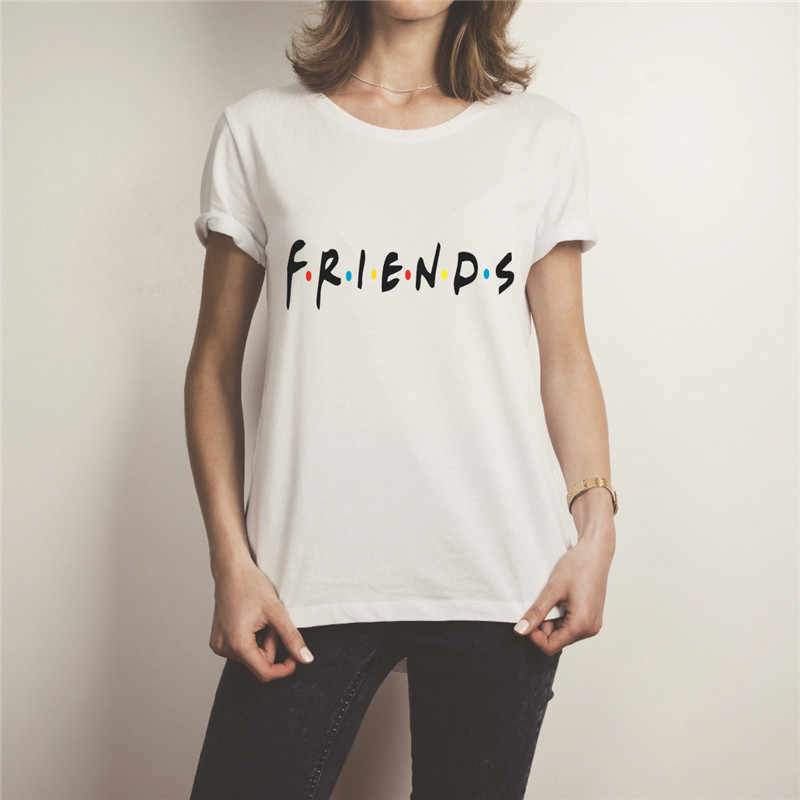 Showtly   Friends Letter Print Women's T-shirt White Cotton  Summer Casual Harajuku Girl's Tee Tops Casual Super Soft Short Slee