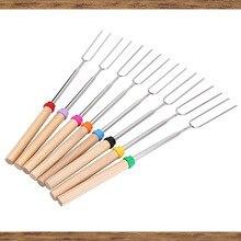 Телескопический набор барбекю инструмент для барбекю аксессуары 5 деревянная ручка телескопическая из нержавеющей стали барбекю вилка