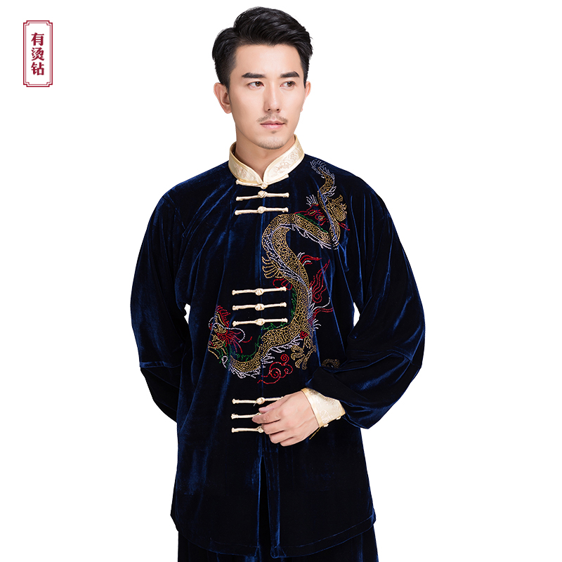 Men Winter Martial Art Suits Taichi Clothes Kungfu Clothing Warm Wushu Costume Taiji Uniform Rhinestone Dragon Pattern 2 color cotton linen men s yoga suits long sleeved taiji lay clothes plus size breathable meditation martial arts performance clothing