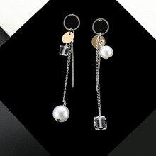 Asymmetrical Crystal Tassel Earrings for Stylish Women with Pearl Earrings stylish faux pearl fringe earrings