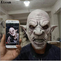 2019New Cool Goblins Mask with Earrings on the Ear Halloween Horror Mask Creepy Costume Party Cosplay Props Men Latex Scary Mask