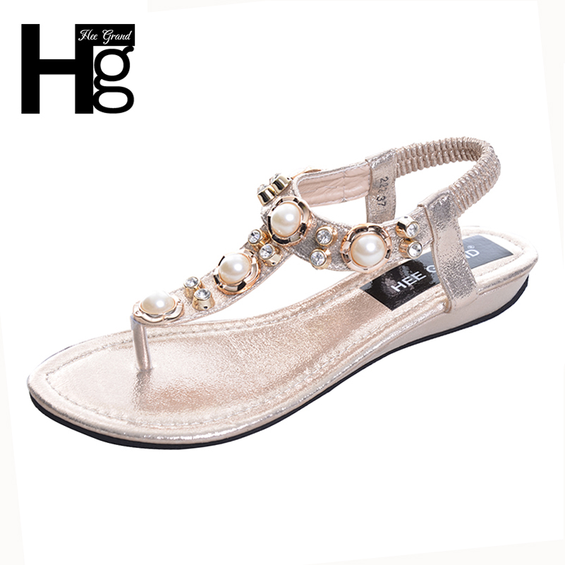 HEE GRAND 2017 Summer New Bohemia Wedge Women Sandals Rhinestone Woman Flip Flops Vintage Women Shoes Beach XWT320 hee grand gladiator sandals summer style flip flops elegant platform shoes woman pearl wedges sandals casual women shoes xwz1937