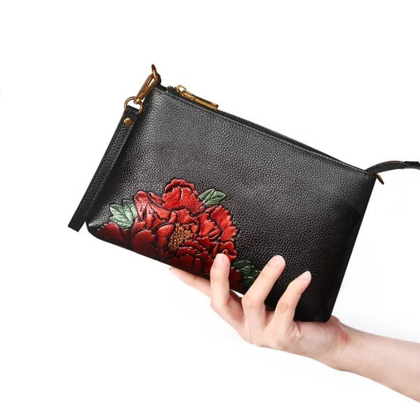 0fc08903f3f5 US $37.25 31% OFF|Chinese Style Embossing Flower Designer Genuine Cow  Leather Women's Three way Shoulder Bag Ladies Black Wristlets Clutch  Purse-in ...