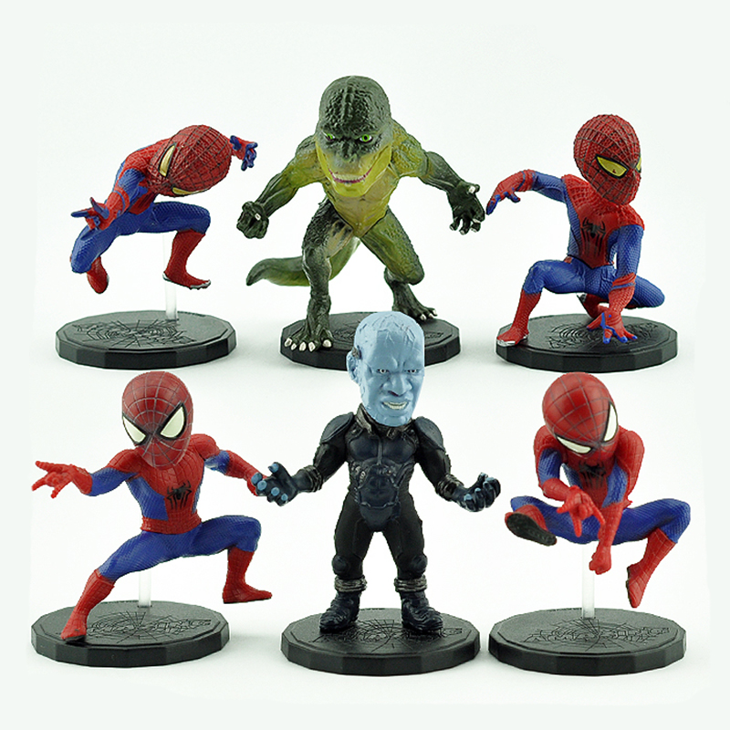 Action & Toy Figures The Amazing Spider-man 6pcs/set Action Figures 1/10 Scale Painted Figure Electro Lizard Spider Man Doll Pvc Figure Toys Anime
