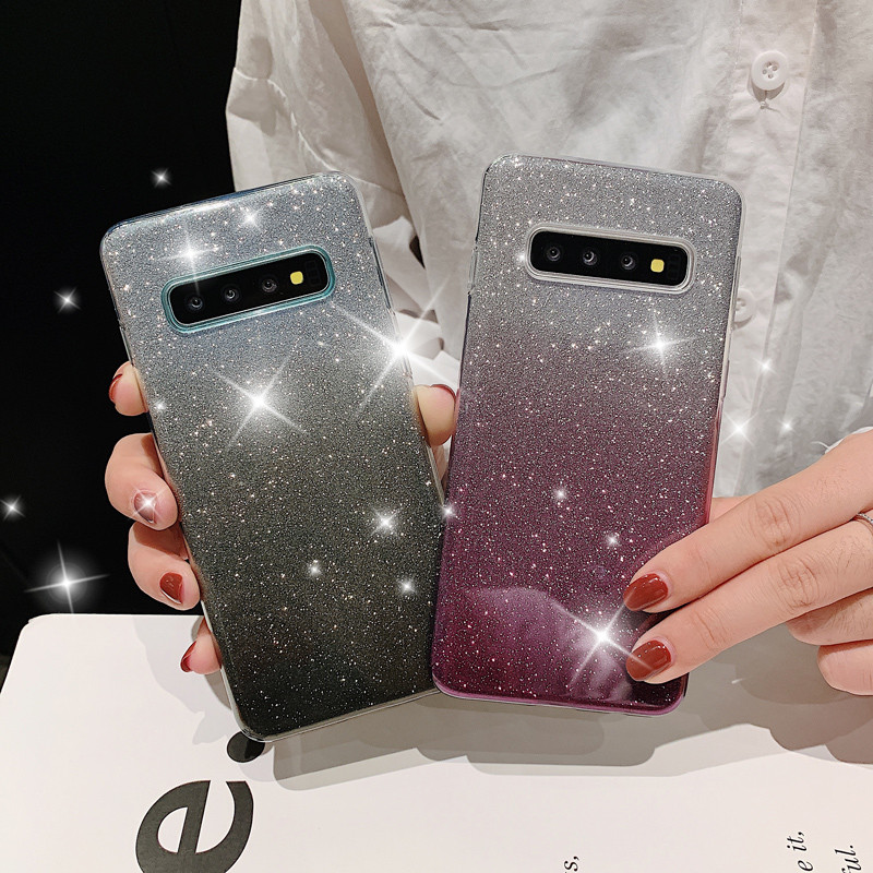 Luxury Bling Glitter Gradient Case For Samsung Galaxy S10 S9 S8 Plus S10E Silicone Case For Samsung S10e Soft TPU Phone Cover in Fitted Cases from Cellphones Telecommunications