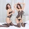 Новая мода женщины sexy колготки Женщины один вертикальная полоса Жаккардовые Перспектива Сиамские чулки